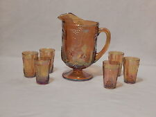 Vintage Indiana Iridescent Gold Carnival Glass Grape Pitcher w/6 Tumbler Set