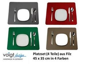 PLATZSET (4 Stück) 45 x 35 cm FILZ Tischset Tischdeko (4 Farben) Made in GERMANY