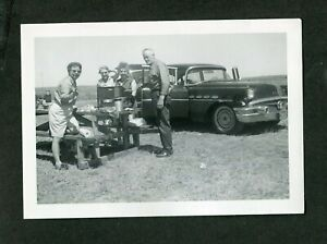 Vintage Car Photo Folks Cooking w/ Coleman Camp Stove 1956 Buick 411072