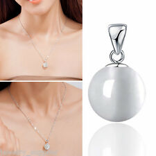 Round White Moonstone Cat Eye Small Pendant Crystal Graceful Women Jewelry