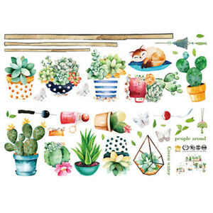 Self-Adhesive Potted Cactus Wall Sticker Sofa Background Decor Decal Craft YO