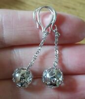 Sterling Silver Filigree Drop Dangle Ball  Earrings with Cut Out Hearts.