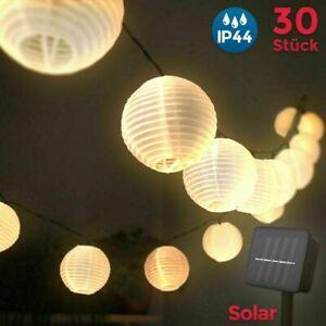 Lichterkette Solar Außen 30 LED Lichter Lampion Batterie Beleuchtung Garten L
