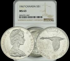 1967 CANADA SILVER GOOSE $1 DOLLAR BU NGC MS63 GRADED COIN IN HIGH GRADE