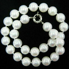 "10mm White South Sea Shell Pearl Round Beads Necklace 18"" AAA"