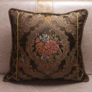 CURCYA Sofa Waist Pillow Cover Cases Silk Jacquard Luxury Cushion Covers Decor
