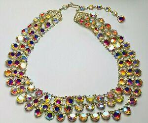 """Vintage 1950's Bezel-Set Aurora Borealis Czech Glass Necklace 16"""""""