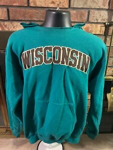 Champion WISCONSIN BADGERS NCAA Hooded Sweatshirt Mens Size Medium Madison Bucky