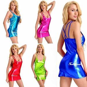 Sexy Bodycon Mini Dress Party Metallic Sleeveless Stretch Clubwear Nightwear