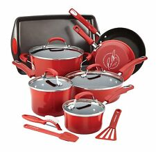 Rachael Ray 14 Piece Hard Enamel Nonstick Cookware Set - Red ~ Brand New In Box