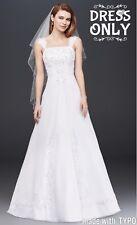 NWT Sz 14 David's Bridal V9010 White A line Chiffon Split Overlay Wedding Dress