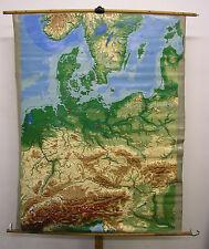 Murs carte belle vieille Europe centrale Carte Allemagne 135x173cm ~ 1965 vintage