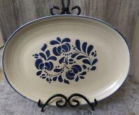 """Pfaltzgraff  FOLK ART Pattern  Tan & Blue 14"""" Oval Stoneware Platter #16 EUC"""