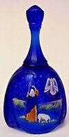 Fenton Glass The Announcement Cobalt Satin Bell Birth Of A Savior Series 1999