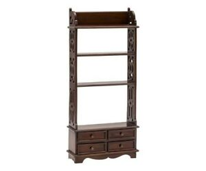 Etagere Bookcase Wooden Plate Rack Mahogany 4 Drawer