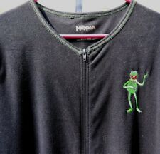 Muppets Embroidered Kermit Black Adult zipper front One piece footed Size L