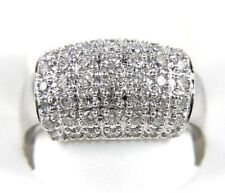Round Diamond Cluster Wide Pave Dome Ring Band 18k White Gold .99Ct