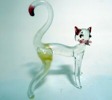Vintage 1970s Miniature Glass Clear Hand Blown Cat Shadow Box Trinket