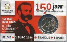 2 EURO - BELGIQUE 2014 - 150 ANS DE LA CROIX ROUGE // COIN CARD BELGIQUE