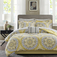 BEAUTIFUL MODERN TROPICAL EXOTIC BED IN A BAG YELLOW GREY COMFORTER SET SHEETS