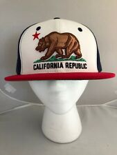 Whang California Republic Embroidered Snap-Back Baseball Cap Red Whit & Blue