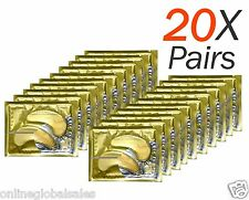 20 X Pairs Anti Aging Dark Circle Collagen 24k Gold Eye Patches Pad Mask Bag Gel