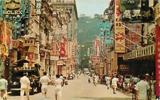 HONG KONG CHINA QUEENS ROAD CENTRAL VINTAGE 1956 POSTCARD VIEW