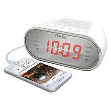 "Timex AM / FM DUAL ALARM CLOCK RADIO MIRRORED 1.2"" LED DISPLAY 3.5mm AUX INPUT"