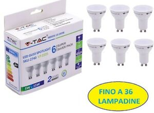 Fino a 36 LAMPADINE V-TAC LED GU10 per Porta Faretti Lampadina 5W 35W Luce 110°