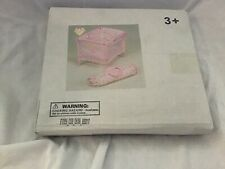 Doll Sized Crib Accesory with travel Case Pink for 12' dolls or plush animals