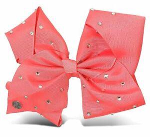 "JoJo Girls Siwa Signature Collection Coral Pink w/Rhinestone 8"" Large Hair Bow"