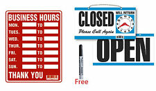 2 Signs 1x Business Hours 9x12 Amp 1 X Open Closed With Clock Plastic W Free Pen