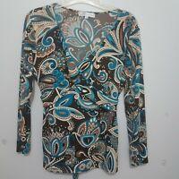Dress Barn Women Pullover Top Blouse Med V Neck Criss Cross Tie Back Multi Color