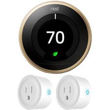 Google Nest Learning Thermostat 3rd Gen Brass w 2x Deco Gear WiFi Smart Plug