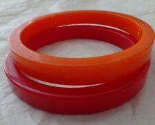 Vtg BAKELITE BANGLE BRACELET Lot 2 Slice Cut Orange & Red Modernist + Bonus