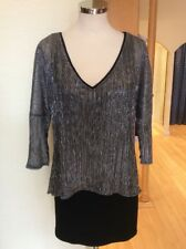 Joseph Ribkoff Top Size 16 Black Silver Layered Now