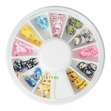 New 120 PCS 3D Animal Fimo Nail Art Tips UV Acrylic Decoration Wheel