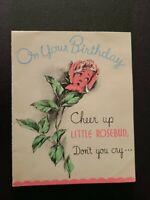 Vtg Rust Craft Birthday Greeting Card Anthropomorphic Rose bud Cry Teardrop 30s