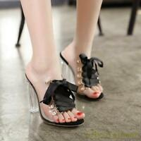 Women Clear Transparent High Block Heels Pull On Open Toe Sandals Slippers Shoes