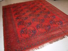 ANTIQUE AFGHAN SULAYMAN CARPET WITH SUPERB COLOUR, SOME HEAVY WEAR, CIRCA 1890.