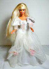 BARBIE DOLL DRESSED BRIDE WHITE TULLE PINK ROSES WEDDING GOWN PURPLE EARRINGS