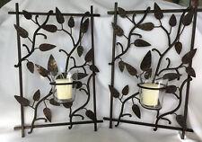 Pair of Dark Bronze Vine Wall Mounted Votive Candle Holders Leaf Design Sconce