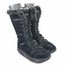 Skechers Shape Ups Women's US 8 Boots Faux Fur Lined Black Leather Winter 11812