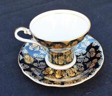 AYNSLEY Bone China England Black Background Gold CARNATIONS Cup & Saucer C2453