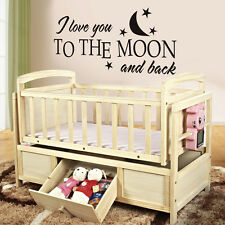 I Love You To The Moon and Back Wall Decal Inspired Quote Vinyl Removable Decor