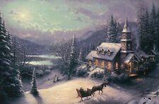 Sunday Evening Sleigh Ride Thomas Kinkade Christmas Card w/ Message NOT Postcard