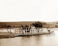 1890's STAGECOACH STAGE COACH CROSSING A RIVER BY FERRY BOAT PHOTO