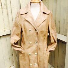 Vintage 60s 70s Cream/ Beige Leather Long Coat Jacket Mod Boho Beatnik 12