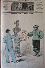 L UNION FAIT LA PAIX CARICATURE GILL JOURNAL SATIRIQUE L'ECLIPSE N° 348 de 1875