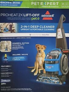 BISSELL PROHEAT 2X LIFT-OFF Pet 2-in-1 Deep CARPET CLEANER Blue w/ Formula #1565